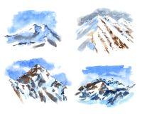Uppsättning av vattenfärgillustrationen av de högsta bergen vektor illustrationer