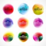 Uppsättning av vattenfärgklickar, färgstänk som isoleras på vit bakgrund Fotografering för Bildbyråer