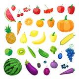 Uppsättning av vegetarisk organisk sund matkokkonst för vektor organiska naturliga realistiska grönsak och frukter stock illustrationer