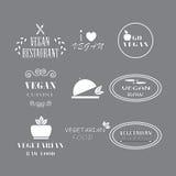 Uppsättning av vegetarisk sund mat för etikettföretagsstrikt vegetarian arkivbilder