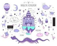 Uppsättning av vektor isolerade bilder Magiska djur Magiskt slott Lilan tonar vit bakgrund royaltyfri illustrationer