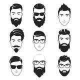 Uppsättning av vektor uppsökte hipstermanframsidor Frisyrer skägg, mustaschuppsättning Stiliga manemblemsymboler stock illustrationer