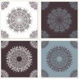 Uppsättning av vektorabstrakt begreppbakgrunder med mandalabeståndsdelar Dekorativt sömlöst Geometriska texturer för tappning Snö vektor illustrationer
