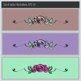 Uppsättning av vektorbakgrunder med blom- beståndsdelar Royaltyfria Bilder