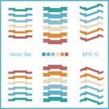 Uppsättning av vektorband för att märka i retro stil Fyra sorter av färger för dina choises Arkivbild
