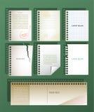 Uppsättning av vektorbaner i form av ark Arkivfoto