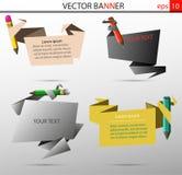 Uppsättning av vektorbaner i form av ark med färgpennor Arkivbild