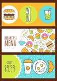 Uppsättning av vektorbaner med matbakgrund Menydesign för kafé Fotografering för Bildbyråer
