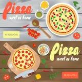 Uppsättning av vektorbaner med pizzarestaurangannonseringen Woode stock illustrationer