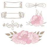 Uppsättning av vektorbeståndsdelar för design av vykort Royaltyfria Bilder