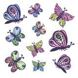 Uppsättning av vektorbilder av dekorativa härliga fjärilar Arkivbilder