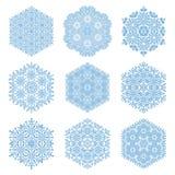 Uppsättning av vektorblåttsnöflingor Royaltyfri Foto