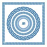 Uppsättning av vektorborstar som skapar grekiska slingringarmodeller och prövkopior av deras applikation för runda och som kvadre Arkivbilder