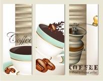 Uppsättning av vektorbroschyrer med kaffe Arkivfoto