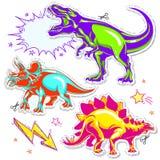 Uppsättning av vektordinosaurier Vektorillustration av tecknad filmdinosaurier vektor illustrationer