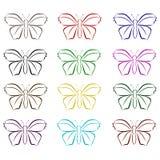 Uppsättning av vektorfjärilar Royaltyfri Fotografi