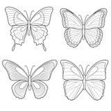 Uppsättning av vektorfjärilar Isolerat anmärker Royaltyfri Foto