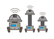 Uppsättning av vektorillustrationen för tre den Robotic maskiner royaltyfri illustrationer