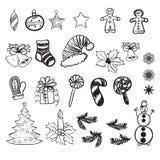 Uppsättning av vektorillustrationer av julklotter royaltyfri illustrationer