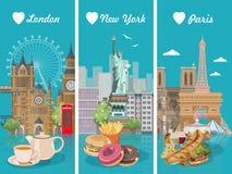 Uppsättning av vektorillustrationer med franska, amerikan, engelsk kokkonst Mataffisch för USA, UK, Frankrike Mål i Amerika och E vektor illustrationer
