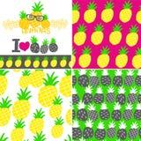 Uppsättning av vektorillustrationer med hand dragen ananas Royaltyfri Foto