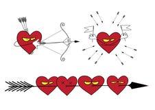 Uppsättning av vektorillustrationer på förälskelsetemat Arkivbilder