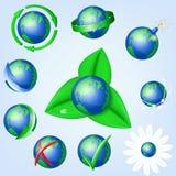 Uppsättning av vektorjordklotsymboler som visar jord Fotografering för Bildbyråer