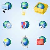 Uppsättning av vektorjordklotsymboler som visar jord Arkivbild