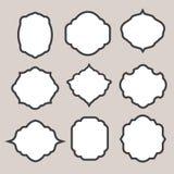 Uppsättning av vektorkonturramar eller cartouches för Arkivbild