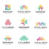 Uppsättning av vektorlogodesignen för socialt massmedia, teamwork, allians stock illustrationer
