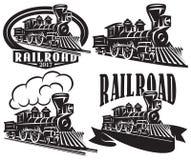 Uppsättning av vektorlogoen i tappningstil med lokomotiv Emblem märker, förser med märke eller modeller på ett retro järnvägtema royaltyfri illustrationer