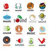 Uppsättning av vektorlogoer ljud och musik Royaltyfri Fotografi