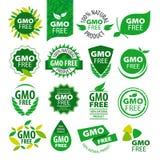 Uppsättning av vektorlogonaturprodukter utan GMOs stock illustrationer