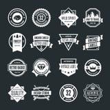 Uppsättning av vektorlogotypbeståndsdelar, etiketter, emblem och konturer Royaltyfri Foto
