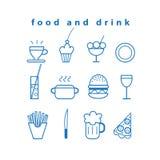 Uppsättning av vektormat- och drinksymboler vektor illustrationer