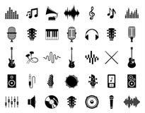 Uppsättning av vektormusiksymboler som isoleras på vit vektor illustrationer