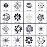 Uppsättning av vektorn, kristallobjekt Arkivfoton