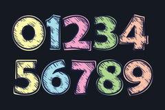 Uppsättning av vektornummer, från 1 till 0 Royaltyfria Bilder