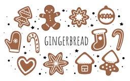 Uppsättning av vektorpepparkakan Ljust rödbrun man, godis, julgran, hus, jul leksak, tumvanten, hjärta och snöflinga vektor illustrationer