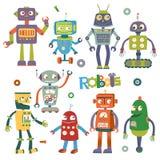 Uppsättning av vektorrobotar i tecknad filmstil stock illustrationer