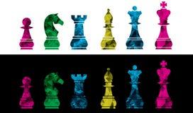 Uppsättning av vektorschacksymboler Isolerat på svartvit bakgrund Kulör illustration för vektor för schackstycken royaltyfri foto