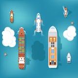 Uppsättning av vektorskepp Top beskådar stock illustrationer