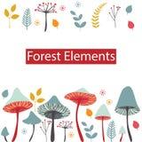 Uppsättning av vektorskogbeståndsdelar Champinjoner, bär, sidor och honom stock illustrationer