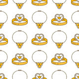 Uppsättning av vektorsmyckenlinjen sömlös modell Lyxig färgrik samling för diamant Cirkel- och halsbandkonturer Guld- ädelsten Royaltyfri Foto