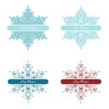 Uppsättning av vektorsnöflingor för julbakgrund Arkivbild