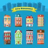 Uppsättning av vektorstads- och stadbyggnader Arkivbild