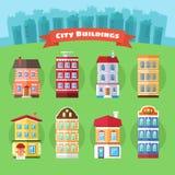 Uppsättning av vektorstads- och stadbyggnader stock illustrationer