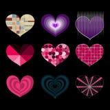 Uppsättning av vektorsymboler av åtskilliga färgrika hjärtor på svart bakgrund Arkivbild