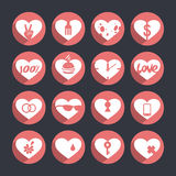 Uppsättning av vektorsymboler av hearts_3 Arkivfoto