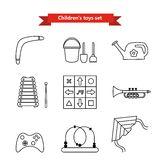 Uppsättning av vektorsymboler av leksaker Samling av leksaker för barn Vektorillustration i en linje stil Royaltyfri Fotografi